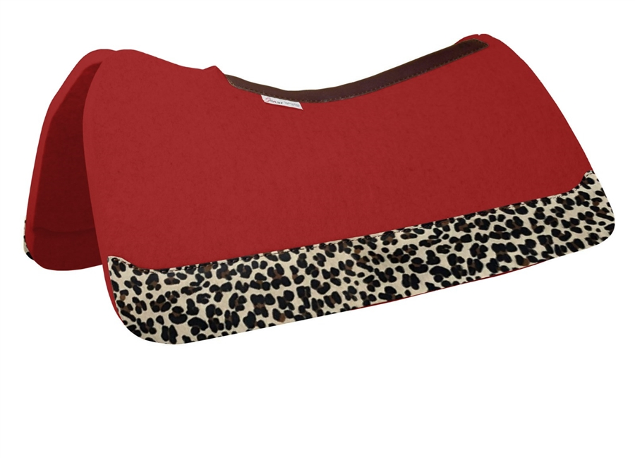 5 Star Saddle Pad Red with Leopard